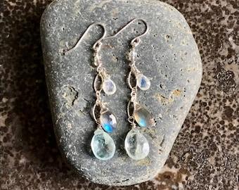 Aquamarine, Moonstone, Labradorite Earrings, Aquamarine Dangle Drop Earrings, March Birthstone Earrings, Labradorite Drops, Moonstone Drops.