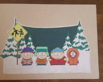 Original Drawing - South Park on Strathmore Toned Tan with Prismacolor