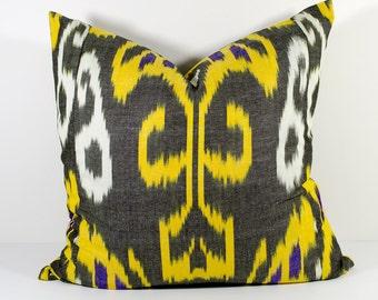 20x20, yellow and black cotton ikat pillow cover, ikat pillows, ikats, yellow pillow, yellow ikats, yellow ikat pillows, ikat design
