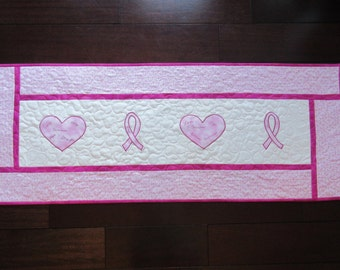 Breast Cancer table runner or wall quilt