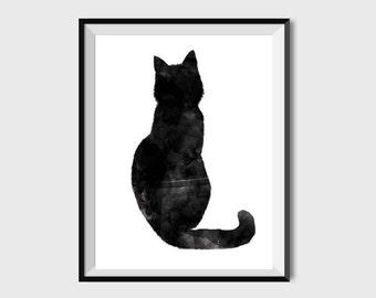 Cat print Watercolor cat Cat wall art Cat nursery Cat wall decor Cat painting Cat printable Kitten print Cat Poster Black and White Modern