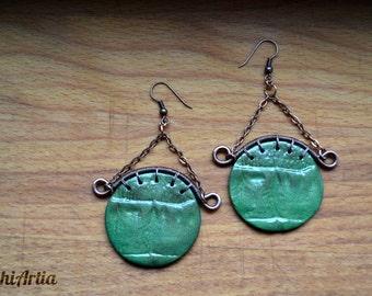 Polymer clay earrings Polymer clay jewelry Circle earrings Crocodile skin earrings Wire wrapped earrings Wire wrapped jewelry Copper wire