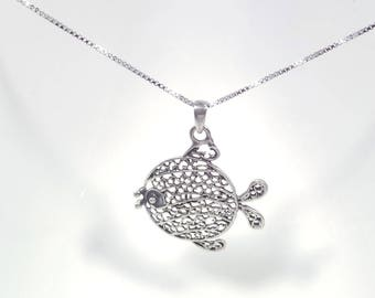 Happy Fish Necklace in Solid Sterling 925 Silver (SN021)