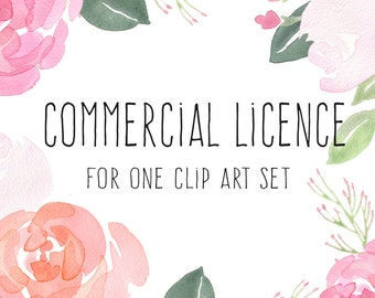 Commercial Licence - 1 set, flower clipart, floral clip art, Paper Sun Design, commercial graphics, wedding graphics, watercolour border