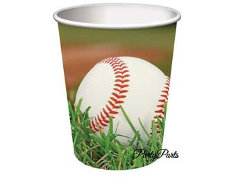baseball cups, paper party cups, sports birthday supplies, 8CT, 9oz, graduation decorations, Fathers Day, teens, All Stars, team banquet