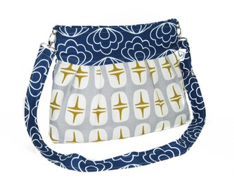 Organic Handmade Sophisticate Cross Body Purse - Navy Blossom with Retro Stars - Free Shipping