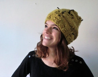 Wool knitted Italian leather beanie cables hat eco-friendly recycled.Women hat deep ochre yellow gift for her. From JJePa
