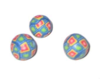 14mm Turquoise Diamond Polymer Clay Bead, 10 beads