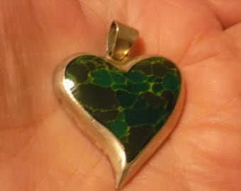 Vintage pendant, witch's heart silver and inlaid stone mexican pendant, marked TL110, mexican jewelry, vintage jewelry