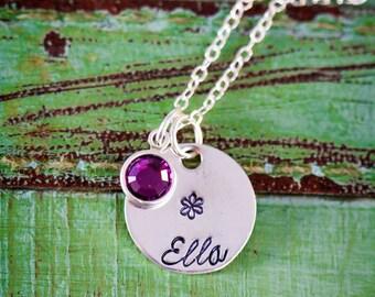 Flower Girl Gift Flower Necklace Girl Necklace Summer Jewelry • Wedding Gift Junior Bridesmaid Gift • Sterling Silver Handstamped