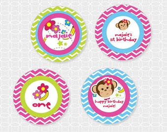 Monkey Party Circles - Personalized Printable