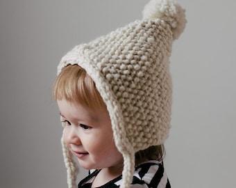 Knit baby bonnet pattern, knit toddler bonnet pattern, knit bonnet with pompom, bulky yarn baby hat pattern, bulky yarn toddler hat pattern