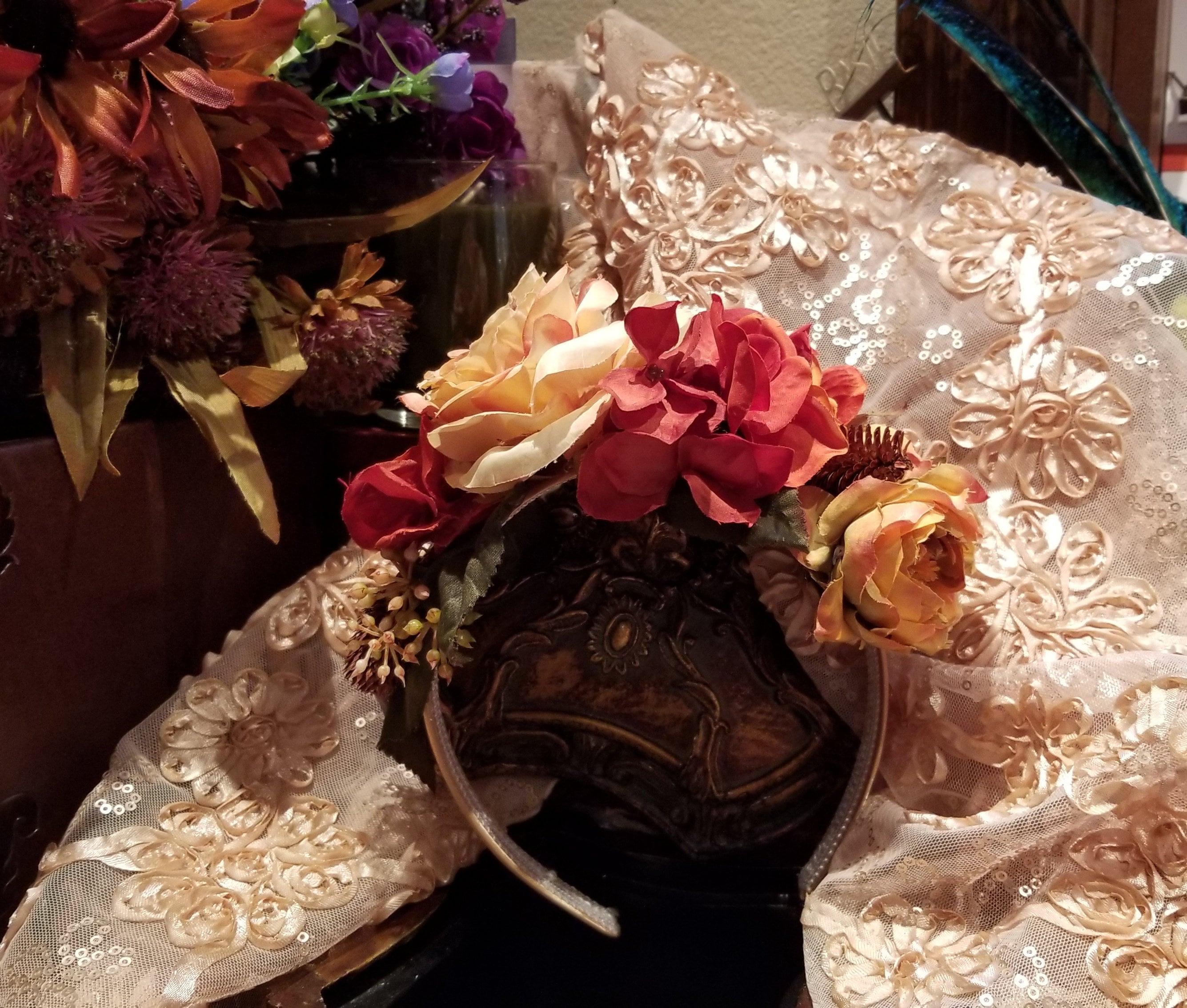 Headband Of Silk Roses And Hydrangea On A Satin Band Hair