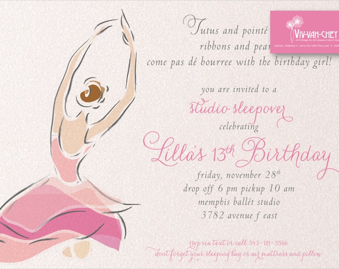 Beautiful Ballerina | Birthday Party Invitation