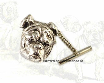 Antique Sterling Silver English Bulldog Head Tie Pin  Vintage Inspired Tie Tack Pin with Bar and Chain Tie Accent