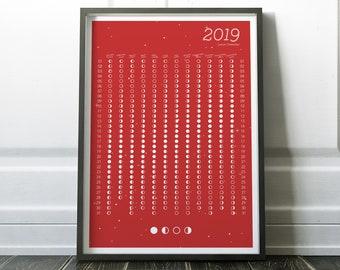 2019 Lunar Calendar - Lunar Calendar of 2019 - Moon Phase Calendar - Moon Calendar of 2019 - Phases of Moon Calendar - 2019 Yearly Calendar