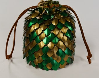 Dice Pouch Scalemail Dice Bag of Holding Bronze Forest knitted Dragonhide
