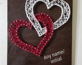 Personalized 2 heart string art with any size