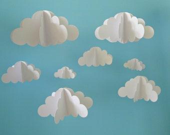 Two Separate Hanging Cloud Mobiles, Hanging Baby Mobile, 3D Paper Mobile, Nursery Mobile, Baby mobile