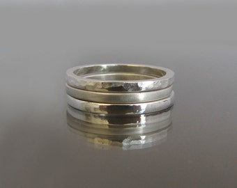 Stackable Rings, Thin Silver Ring, Set of 3 Stacking Rings, Wedding Bands Women, Thin Silver Bands, Hammered Silver Ring, Artisan Rings