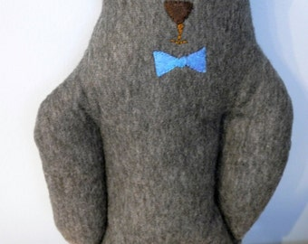 Grey plush Bow-tie bear, teddy bear, plush bear, grey, felt bear