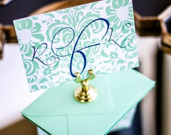 "Mint and Navy, Monogram Thank You Note, Correspondence Card, Damask Stationery - ""Dramatic Script"" Flat Personalized Stationery - DEPOSIT"