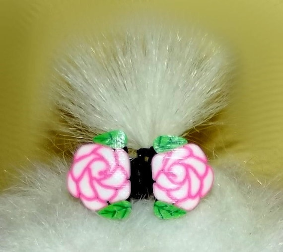 Puppy Bows ~Barrette tiny jaw clip FLOWERS bow dog Shih Tzu FIVE COLORS ~Usa seller