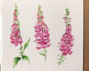 Foxgloves Embellished Card taken from an Original Watercolour/ Notelets / Birthday Cards / Thank you Cards / Blank Cards