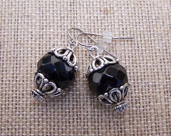 Black and silver chunky tibetan earrings
