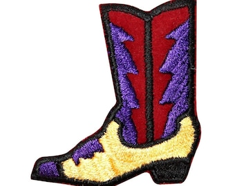 ID 1363 Fancy Cowboy Boot Patch Line Dancing Symbol Embroidered Iron On Applique