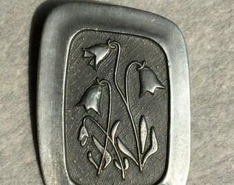 70's Sweden R Tenn Pewter Floral Brooch