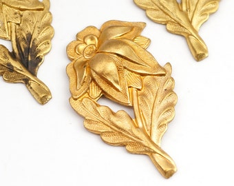 3 pcs brass flower stampings, vintage bright spiky petal with leaves 37mm