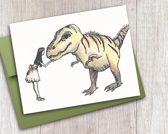 Dinosaur Note Cards with Cute Girls and T-Rex Illustration, Set of 6