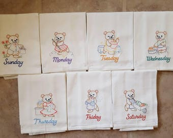 Teddy Bears Days of the Week Embroidered Flour Sack Dish Towels