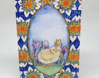 SALE   Illustrated   Greeting Card   Spring   Chick   Easter Card   Christening   Baby Animal   Art   Baby Shower   Half Price   Bargain