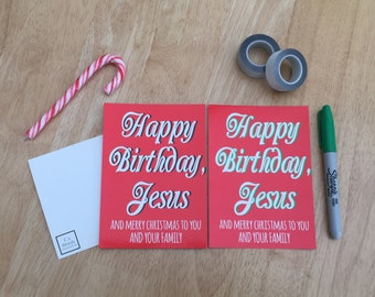 Christmas Gift Tags | Happy Birthday Jesus Funny Christmas Secret Santa Stocking Filler LIMITED STOCK