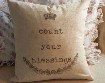 Count Your Blessings Pillow Cover 18X18 Give Thanks Thanksgiving Fall Decor Graphic Wreath House Farmhouse French Cottage Style Decor