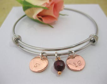 Special Birthday Gift Personalised Bangle Bracelet Rose Gold Initial 16th 18th 21st 30th 40th Birthstone Bracelet Charms UK Seller