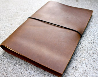 13x21cm Leather Moleskine Cover with exterior elastic strap and pen loop - COVER ONLY