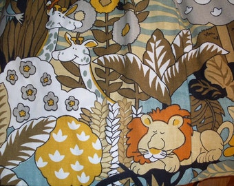 Two Pair of Vintage Animal Pinch Pleat Curtains with Valance, Children's Room Curtains, Safari Curtains, Nursery Room Curtains, Playroom