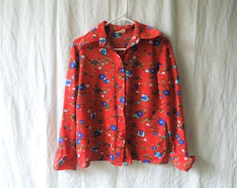 70s Red Floral Polyester Disco Pointy Collared Button Down Shirt