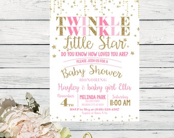 Twinkle Twinkle Little Star Baby Shower Invitation DIY Printing - ***Digital File*** (Baby-TwinkleStar)