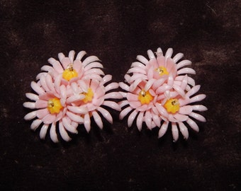 Vintage Plastic Flower Earrings Small Pink and Yellow Floral Cluster Clip On Plastic Earrings
