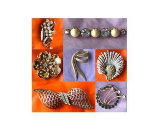 Vintage Rhinestone Pins, Brooches