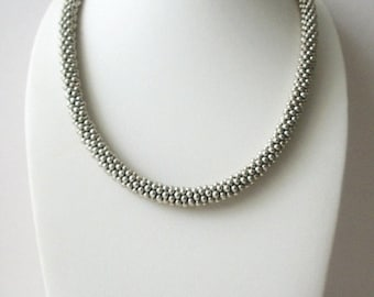 ON SALE Retro Silver Tone Thicker Rope Shorter Length Stamped Necklace 41818