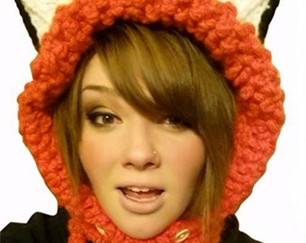 The Velvet Acorn Womens Warm Full Fox Hood Crocheted Winter Hat, One Size