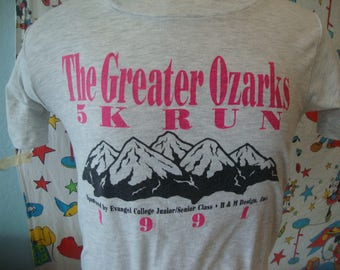 Vintage 90's 1991 The Greater Ozarks 5K Run Mountain Running Marathon Jogging Gray T Shirt Sz XS
