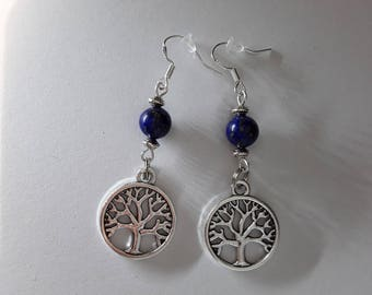 Earrings tree of life with lapis lazuli beads.