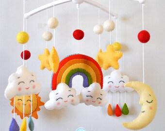 Baby mobile Rainbow Clouds mobile Moon mobile Nursery mobile Cot mobile Crib mobile Sun Stars Hanging mobile Baby shower gift