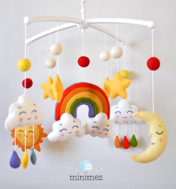 Bebé móvil nubes arco iris móvil Luna móvil vivero móvil cuna